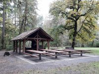 Picnic tables and shelter at at Lewisville park